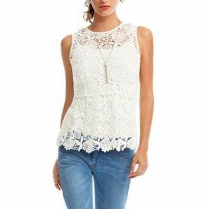 CAbi White Crochet Needlepoint Lace Peplum Top